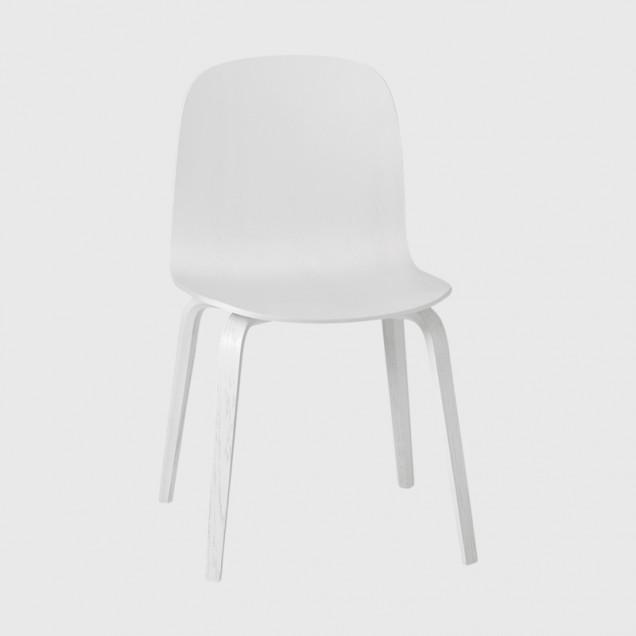 Visu chair, Wood base, White